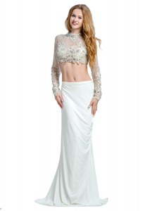 Comfortable Brush Train Two Pieces Prom Gown White High-neck Chiffon Long Sleeves With Train Backless