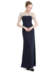 Deluxe Black Chiffon Zipper Homecoming Dress Short Sleeves Floor Length Beading