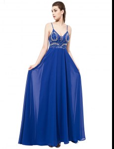 Modern Sweep Train Empire Evening Dress Royal Blue Spaghetti Straps Chiffon Sleeveless With Train Backless