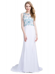 Scoop Sleeveless With Train Beading Zipper Formal Evening Gowns with White Brush Train