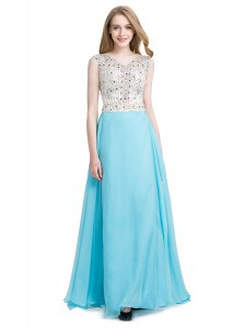 Perfect Scoop Aqua Blue Sleeveless Beading Floor Length Dress for Prom