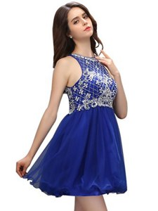 Vintage Royal Blue Organza Zipper Scoop Sleeveless Mini Length Cocktail Dresses Beading