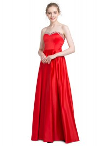 Traditional Sweetheart Sleeveless Elastic Woven Satin Beading Zipper
