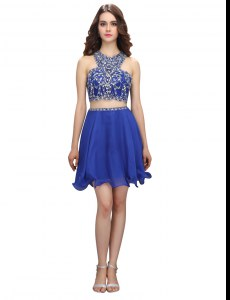 New Style Royal Blue Criss Cross Scoop Beading Celebrity Prom Dress Organza Sleeveless