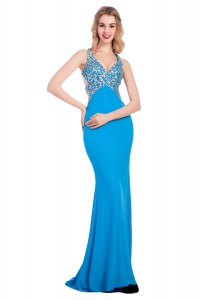Sleeveless Silk Like Satin With Train Clasp Handle Prom Gown in Baby Blue with Beading