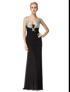 Enchanting Floor Length Black Evening Dress Straps Sleeveless Zipper