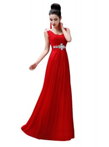 Fitting Sleeveless Chiffon Floor Length Zipper Evening Wear in Red with Beading