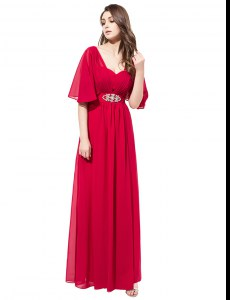 V-neck Half Sleeves Satin Prom Evening Gown Beading Zipper