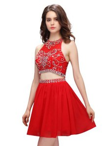 Smart Scoop Sleeveless Cocktail Dresses Mini Length Beading Red Chiffon