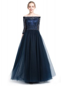 Adorable Off The Shoulder 3 4 Length Sleeve Tulle Hoco Dress Beading and Appliques Zipper