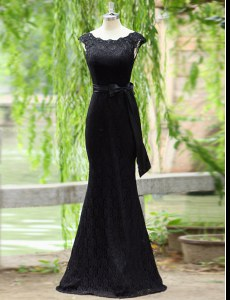 Dazzling Mermaid Scoop Black Sleeveless Floor Length Lace Zipper Prom Party Dress