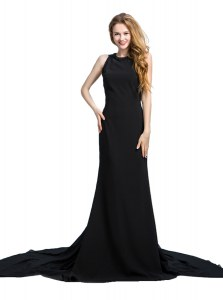 Beautiful Scoop Sleeveless Prom Gown With Brush Train Beading and Lace Black Chiffon
