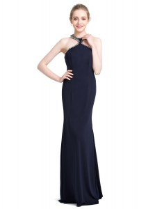 Custom Designed Black Prom Dress Prom and Party and For with Beading High-neck Sleeveless Zipper