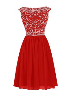 Beading Prom Evening Gown Red Zipper Cap Sleeves Knee Length