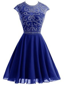 Nice Royal Blue Scoop Backless Beading Club Wear Sleeveless