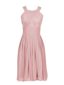 Pleated Column/Sheath Prom Dress Pink Scoop Chiffon Sleeveless Knee Length Zipper