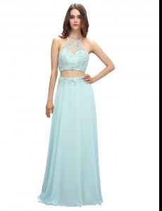 Discount Light Blue Prom Dress Prom and Party and For with Beading Scoop Sleeveless Zipper