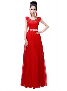 Coral Red Lace Up Scoop Beading Evening Dresses Chiffon Cap Sleeves