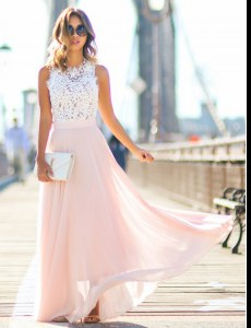 Graceful Column/Sheath Formal Evening Gowns Pink Scalloped Chiffon Sleeveless Floor Length Zipper