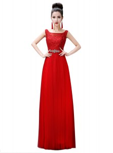 Red Zipper Prom Dress Beading and Lace Sleeveless Floor Length