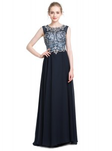 Scoop Beading Evening Dress Black Zipper Sleeveless With Brush Train