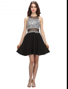 Perfect Scoop Black Sleeveless Chiffon Zipper Club Wear for Prom and Party