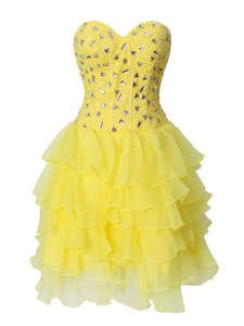 Yellow Zipper Sweetheart Beading and Ruffled Layers Homecoming Dress Chiffon Sleeveless