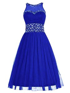 Free and Easy Scoop Sleeveless Zipper Evening Dress Royal Blue Tulle