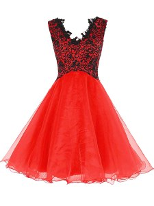Coral Red Zipper V-neck Lace Cocktail Dress Organza Sleeveless