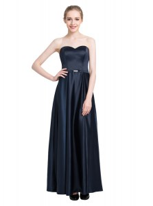 Dazzling Black Empire Sweetheart Sleeveless Satin Floor Length Zipper Beading Dress for Prom