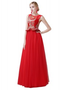 Edgy Scoop Sleeveless Beading and Appliques Zipper Homecoming Gowns