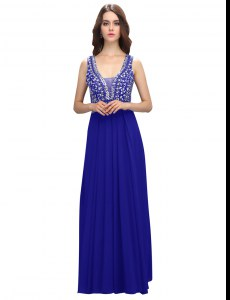 Exceptional Beading Prom Party Dress Royal Blue Zipper Sleeveless Floor Length