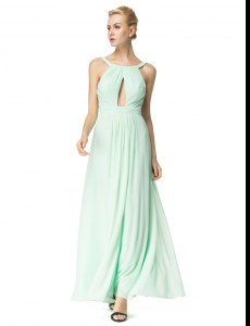 Scoop Sleeveless Backless Floor Length Ruching Homecoming Dress