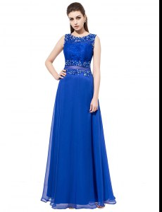 Scoop Royal Blue Sleeveless Organza Zipper Evening Dress for Prom and Party