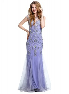 Customized Mermaid Lavender Prom Dress Prom and Party and For with Beading Scoop Cap Sleeves Side Zipper