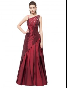 Burgundy Evening Dress Prom and Party and For with Beading and Bowknot Asymmetric Sleeveless Side Zipper