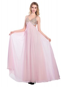 Fantastic Sleeveless Criss Cross Floor Length Beading and Bowknot Prom Party Dress