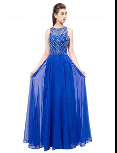 Spectacular Chiffon Scoop Sleeveless Zipper Beading Evening Dress in Royal Blue