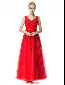 Customized Red Sleeveless Tulle Lace Up for Prom and Party