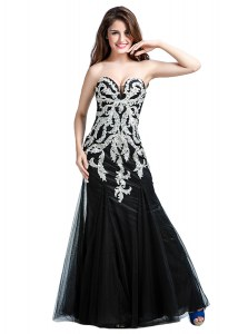 Floor Length Black Juniors Evening Dress Sweetheart Sleeveless Zipper