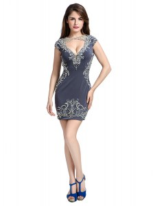 Designer Scoop Sleeveless Mini Length Beading Side Zipper Cocktail Dresses with Grey