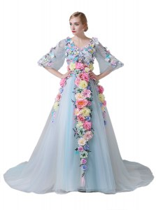 Free and Easy Tulle Half Sleeves With Train Homecoming Dress Court Train and Hand Made Flower