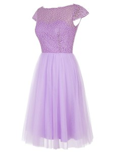 Lavender Cap Sleeves Knee Length Beading Zipper Red Carpet Prom Dress