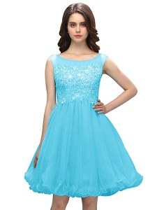 Sweet Baby Blue A-line Beading and Appliques Prom Evening Gown Zipper Organza Sleeveless Knee Length