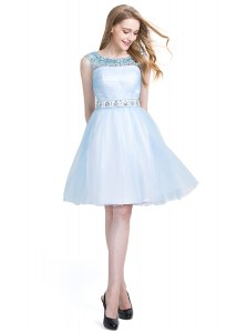 Modest Scoop Light Blue Sleeveless Knee Length Beading Zipper Cocktail Dresses