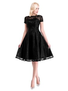 Fashion Lace Prom Gown Black Zipper Short Sleeves Knee Length
