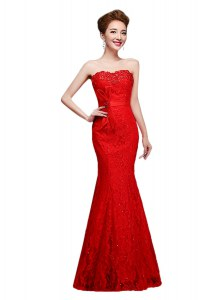 Mermaid Strapless Sleeveless Prom Gown Floor Length Lace Red Lace