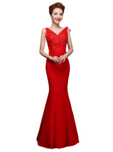 Best Selling Floor Length Red Prom Dresses V-neck Sleeveless Lace Up