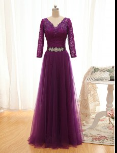 High End Tulle V-neck 3 4 Length Sleeve Lace Up Beading and Lace Prom Dress in Purple