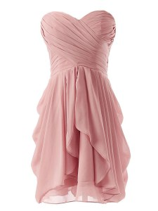 Captivating Pink Lace Up Prom Dress Ruching Sleeveless Mini Length